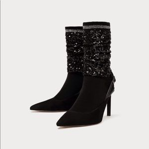 Black slingback shoes with sequin sock